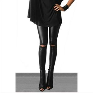 Black pleather distressed leggings